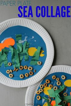 This sweet paper plate sea collage is perfect for kids and toddlers. Easy to make and great for ocean or fish crafts!