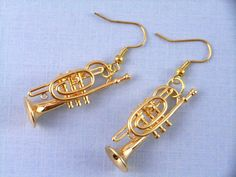 Trumpets Earrings Trumpet Miniblings Trumpeter with wooden Box Music Orchestra on Etsy, $27.29 Better detail than silver but bigger and more expensive