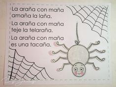 """Hoja de Trabalenguas: """"La araña con maña"""" con Ilustración. Más fotografías dando clic a la imagen. Word Search, Lana, Diagram, Leaves"""