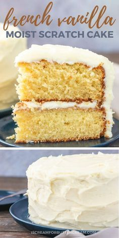French Vanilla Cake Recipe From Scratch, Perfect Vanilla Cake Recipe, Homemade Vanilla Cake, Cake Recipes From Scratch, Best Cake Recipes, Homemade Cakes, Homemade Recipe, French Vanilla Cupcakes, Fluffy Vanilla Cake Recipe