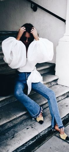 White blouse with cute billowing sleeves.