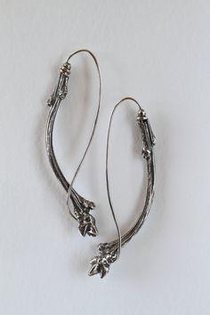 Earthy, Elegant Sterling French Hoop Earrings - Curved Tree Buds BNOX Jewelry Studio bnoxgold.com