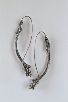 Oxidized and textured sterling silver earrings.  Curved by BNOX,