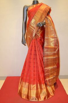 Orange Bridal Wear Kanjeevaram Silk Saree Product Code: AB202056 Online Shopping: http://www.janardhanasilk.com/Saree-Collections/Kanjeevaram-Silk-Saree/Orange-Bridal-Wear-Kanjeevaram-Silk-Saree?limit=25