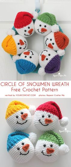 Circle of Snowmen Christmas Wreath Free Crochet Pattern Crochet wreaths are fun to make, can be given as gifts and look terrific on display. Here are Christmas Wreath Crochet Patterns for you to use. Crochet Christmas Wreath, Crochet Wreath, Crochet Christmas Decorations, Crochet Snowman, Crochet Decoration, Christmas Wreaths, Christmas Crafts, Unusual Christmas Gifts, Burlap Christmas