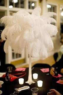 Ostrich Feather centerpieces...I like the candles around it!!!
