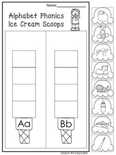 Ice Cream Worksheets for Preschool 13 Printable Alphabet Ice Cream Scoops Worksheets Preschool Kdg Phonics Toddler Learning, Preschool Learning, Preschool Activities, Alphabet Phonics, Printable Alphabet, Preschool Printables, Kindergarten Worksheets, Learning English Is Fun, Kindergarten Calendar