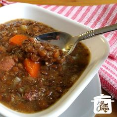 Traditional German Lentil Soup made just like your Oma's. So delicious and easy to make. http://www.quick-german-recipes.com/how-to-make-lentil-soup.html