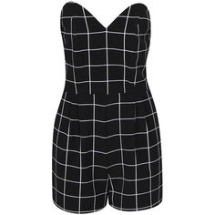Boohoo Blair Grid Check Bustier Playsuit (21 CAD) ❤ liked on Polyvore featuring jumpsuits, rompers, dresses, playsuits, boohoo jumpsuits, romper, jumpsuit, playsuit jumpsuit and jump suit