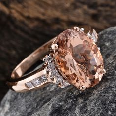 Rose Gold Marropino Morganite and Diamond Ring Morganite Jewelry, Fashion Jewelry, Women Jewelry, Jewelry Stores, Rose Gold, Diamond, Creative, Earrings, Stuff To Buy
