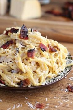 Lighter Bacon Alfredo with Gouda and Parmesan