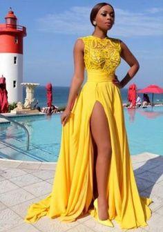 Yellow Long Elegant Dresses