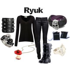 """""""Ryuk from Death Note"""" by animeinspirations on Polyvore. Oooh dem boots tho"""