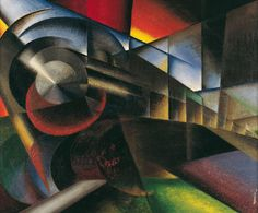 Treno in corsa (Speeding Train), 1922. Oil on canvas, 100x120 cm.  Ivo Pannaggi (1901-1981) was an Italian painter, designer, and architect. Although primarily associated with the Italian Futurist movement, Pannaggi was also heavily influenced by International Constructivism and Neoplasticism. The artist's oeuvre spanned across a wide range of media including painting, collage, graphic design, interior design, architecture, set design, costume design and industrial design.