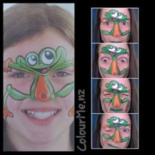 April Challenge day4 : inspired by Margi Kanter on right-my frog version Facepainting by www.colourme.nz #frog #facepainting #Auckland