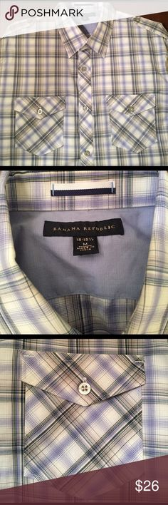 Banana Republic Men's Striped/Plaid Button down Plaid Banana Republic Button down shirt. Medium. 15-15 1/2. Great condition. Worn once. Great pattern and high quality. Banana Republic Shirts Casual Button Down Shirts