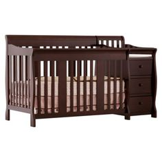 Storkcraft Portofino Crib Changer Combo in Espresso - Crib with changing table attached.  Converts to a toddler bed, daybed, or full size bed. $284.13