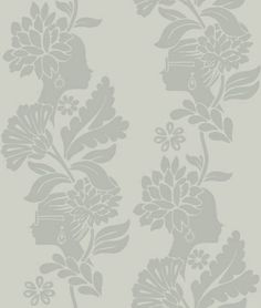 Damask Ladies Wallpaper Female profiles woven subtly into a floral damask-style vine in silver, on a light silver background. Moon wallpaper from the Vital collection by Jordi Labanda.
