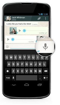 WhatsApp Messenger introduces Voice Messages for Android phones.