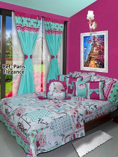 Ref: Paris Elegance; Disponible en cortinas, cojines, juegos de baño y sábanas en todas las medidas: Sencilla (1mx1.90m), Semi (1.20mx1.90m), Doble (1.40mx1.90m), Queen (1.60mx1.90m) y King (2mx2m) #Paris #Vintage #Habitación #Dalotex #Lenceria #Hogar #Sabanas #moda #colors #Chic #SabanasDalotex #Bluemint #Dreamcatcher #Pastel #Cama Pillow Mat, Pillow Cases, Tiny House Living, Living Room, Kids Bedroom, Bedroom Decor, Kids Decor, Home Decor, Room Colors