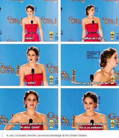 Jennifer confused moment during her interview in Golden Globe i laugh so hard watching this...that is why so many people like and love her she is so true and genuine!!
