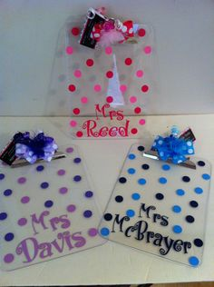 Adorable Polka Dot Personalized Clipboards Cute Teacher gifts. $14.99, via Etsy.