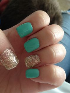 Turquoise and gold glitter gel nails