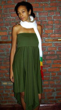 Olive Tube Flounce Dress