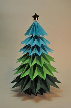 Sapin origami  grand modèle 6 étages Christmas Origami, Christmas Tree, Xmas Crafts, Paper Crafts, Kirigami, Origami Decoration, Arts And Crafts, Christmas Decorations, Etsy