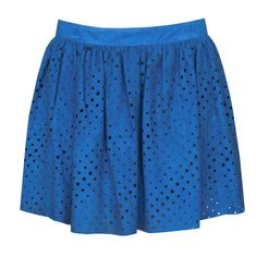 DROMe $800 laser cut leather perforated ruffled cut-out blue mini skirt S NEW #DROMe #MiniSkirt #LaserCut #LeatherSkirt #Blue
