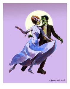 FRANKENSTEIN COUPLE DANCING Print Monsters Moon Ballroom Mike Von Hoffman