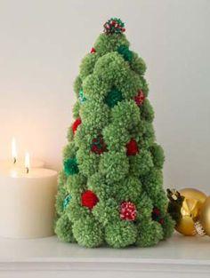 Pompom Holiday Tree in Lion Brand Vannas Choice - Digital Version | Free Knitting Patterns | Knitting Patterns | Deramores