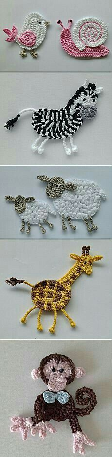 "Diy Crafts - Animais em crochê ""☆ ★ ✭ Aplique de Crochê Bichos - / ☆ ★ ✭ Apply by Crochet Critters -"", ""Wonderful applikashki from les frotte Crochet Diy, Love Crochet, Irish Crochet, Crochet For Kids, Crochet Crafts, Crochet Flowers, Crochet Projects, Crochet Ideas, Diy Projects"