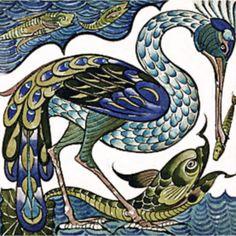 William de Morgan Stork - Interior ceramic wall tiles