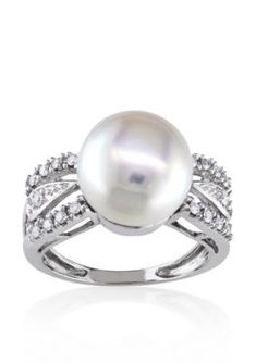 Belk  Co.  14k White Gold Cultured Freshwater Pearl and Diamond Ring