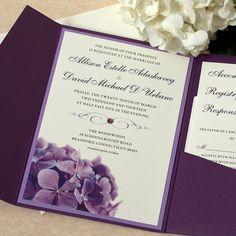 Purple Hydrangea Wedding Invitation, Floral Invitation, Purple Wedding, DEPOSIT by willowglenstationery on Etsy https://www.etsy.com/listing/120185293/purple-hydrangea-wedding-invitation