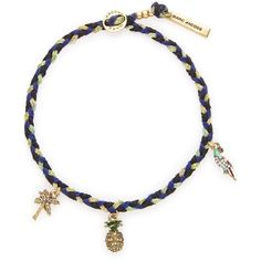 Marc Jacobs Tropical Pineapple Friendship Bracelet (€52) ❤ liked on Polyvore featuring jewelry, bracelets, blue, pineapple charm, rope bracelet, braided cord bracelet, beaded bangles and blue charm