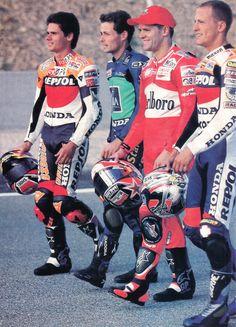"Motociclismo ""dream team"" in 1999, four pilots Catalanes, two of them in the highest of the podium.  Alex Criville (Champion 500cc), Emilio Alzamora (Champion 125cc), Carlos Checa, Sete Gibernau."