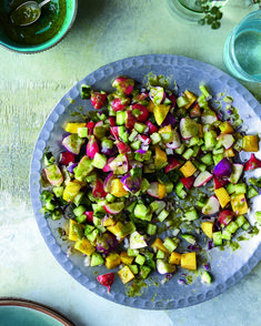 The mango's sweetness in this vibrant, refreshing salad is offset by the chilli kick and the zingy taste of mint, while the cucumber and radish add crunch. #chetnamakan #MangoSalad #Mint #ChetnasHealthyIndian #cookbook #Salad #indianfood #mangoandmintsalad #indianrecipes