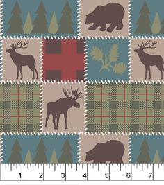 Snuggle Flannel Fabric 42''-Deer Lodge Patchnull