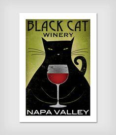 CUSTOM  Fat Cat Brewing Company Black Cat Graphic Art Illustration giclee print SIGNED