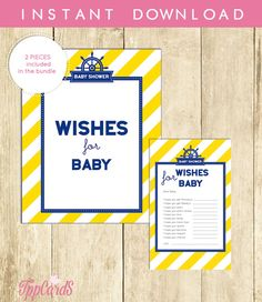 Nautical Wishes for Baby Shower Activities Baby Shower Well Wishes for Baby Cards and Sign Printable Instant Download Blue Yellow 0001A-Y by TppCardS #tppcards #printable #invitations