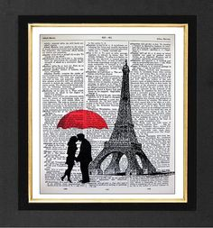 "Paris ""Now and"" - ORIGINAL ARTWORK Mixed Media art print on 8x10 Vintage Dictionary page, Dictionary art, Dictionary print"