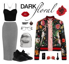 """""""Dark floral passion"""" by gretabenel on Polyvore featuring moda, Thierry Mugler, Gucci, adidas, MANGO, Ray-Ban, Christian Dior, ZeroUV y Beats by Dr. Dre"""