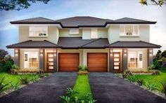 Forest Glen - Duplex Level - by Kurmond Homes - New Home Builders Sydney NSW Townhouse Designs, Duplex House Design, Custom Home Builders, Custom Homes, Duplex House Plans, Multi Family Homes, Storey Homes, Facade House, House Front