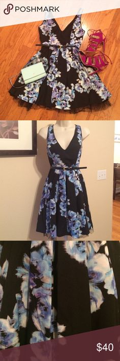 Bebe beautiful floral party dress This beautiful black and blue floral Bebe party dress is a must have in any closet. Has a pleated bottom with black chiffon underneath to give you that perfect classic hour glass figure. Features an inline zipper and clasp is located in the middle back of the dress. In excellent condition. Belt not included. bebe Dresses