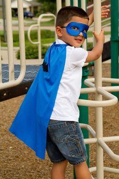 Set of 10 Superhero Blue Capes & Blue Satin Masks - amazon