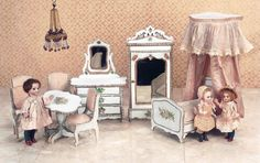 Wooden dollhouse bedroom set for the French market with original silk covers. View Catalog Item - Theriault's Antique Doll Auctions