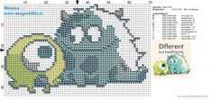 baby monsters inc cross stitch pattern | Baby Mike and Sully (Monster & Co.) cross stitch pattern (click to ...