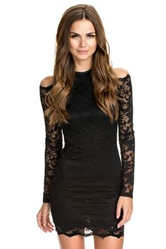 Love Lace! Sexy Black Lace Off-The-Shoulder Dress Fashion #Sexy #Black #Lace #Cold_Shoulder #Dress #Fashion